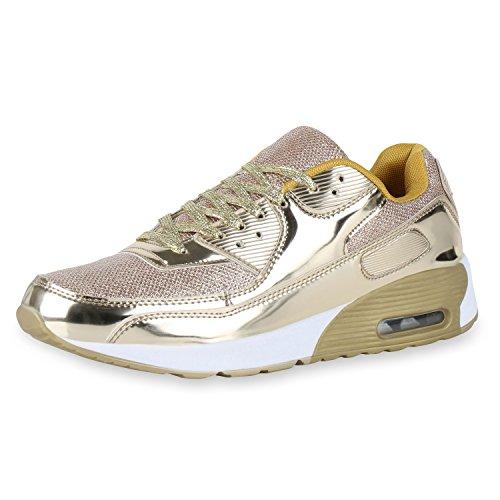 Herren Runners Metallic Lack Sportschuhe Laufschuhe Sneakers Schuhe Gold 41 VanHill