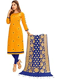 Women'S Yellow Semi Stitched Embroidered Glaze Cotton Dress Material