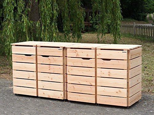 4er Mülltonnenbox / Mülltonnenverkleidung 240 L Holz, Douglasie Natur - 3