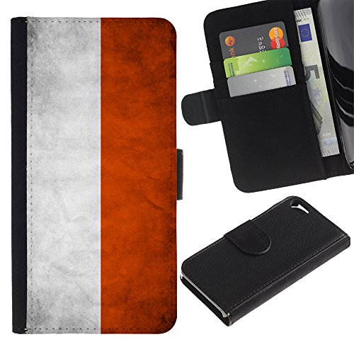 Graphic4You Vintage Uralt Flagge Von Schottland Schottisch Design Brieftasche Leder Hülle Case Schutzhülle für Apple iPhone SE / 5 / 5S Polen Polnisch