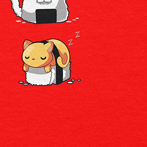 NERDO - Cat Sushi - Herren Kapuzenpullover Rot