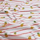 Kinderstoff Baumwolle Lycra Single Jersey weiß Ananas