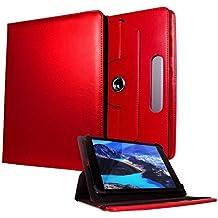 Custodia di pelle poliuretano universale girevole a 360°, con slot di scheda e funzione di supporto per tablet da 22,8–25,4cm di Galaxy Store Red