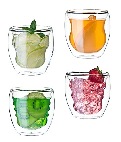 Cristal squisite - Juego de 4 vasos de doble pared - 4 x 250 ml
