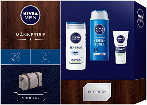 NIVEA MEN Männertrip Geschenkset, Weekender Bag für Männer mit Pflegeshampoo, Pflegedusche und Gesichtspflege, Weihnachtsgeschenke Set für den gepflegten Mann