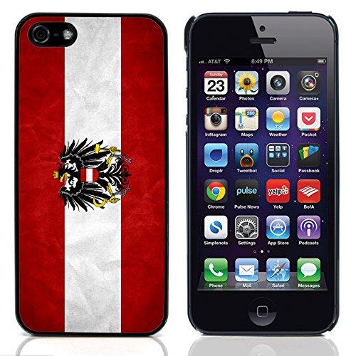 Graphic4You Vintage Uralt Flagge Von Österreich Österreichisch Design Harte Hülle Case Tasche Schutzhülle für Apple iPhone 5 und 5S