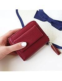 Ms breve párrafo cartera de las nuevas hebillas cero cartera RFID seguridad magnética borla cartera , wine red