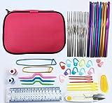 Kit Uncinetti Professionali Set di Ferri da Maglia con Astuccio di Pelle 49 pz Uncinetti in Alluminio Maglia Kit Ideale Regalo DIY Appassionati Multicolori