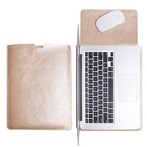 WALNEW Schlanke MacBook Air 13 Zoll (A1369/A1466)Hülle, MacBook Schutzhülle, Hülle, Case, Cover, MacBook Pro Retina 13 Zoll (A1502/A1425)Hülle mit Handgriff, geschütztes Inneres und externes Mousepad,Gold