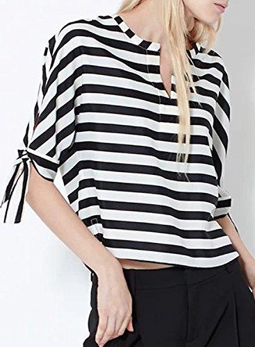ACHICGIRL Women's Casual Half Sleeve Striped Pullover Blouse Black&white