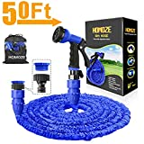 "HOMOZE 50ft Expandable Garden Water Hose Pipe with 3/4"", 1/2"" Fittings, Anti-leakage - Flexible Expanding Hose with 8 Function Spray Nozzle"