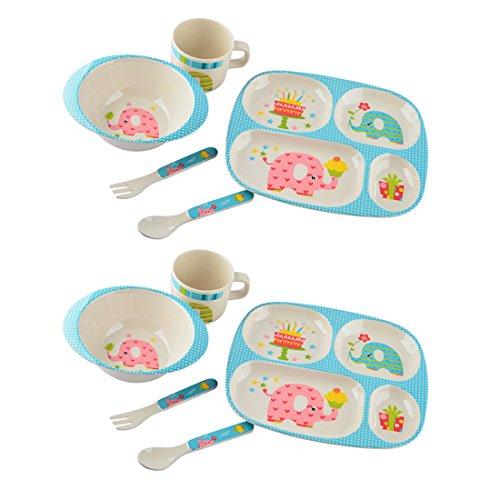 Bol-enfant-FOKOM-2-Pcs-0-BPA-Fibre-de-bambou-Set-Petit-Dejeuner-Set-de-nourriture-Ensemble-de-dner-Vaisselle-Services-de-vaisselle-Services-pour-enfant-Assiette-Bol-Coupe-Cuillre-Fourchette