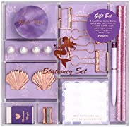 MultiBey Cute Stationery Set Ballpoint Pen Pencils Washi Tape Eraser Pearl Push Pins Sticky Note Pads Rose Gol