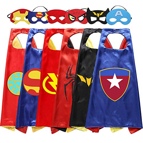 Ouwen Fun Popular Outdoor Best Cool Top Toys for Boys Age 3-8, Superhero Cape and Mask Set for Kids Boys Toddlers Superheros Toys for Boys Kids Best Gifts for 3-8 Year Old Boys 6BPiece OWUSCM02