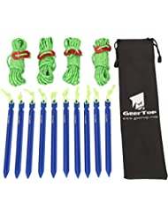 GEERTOP Estacas Piquetas de 10 de Aluminio de 18cm para Tienda de Campaña y Cuerdas Reflectantes de 4mm con un Tensor y Bolsa para Senderismo Acampada Montañismo (Azul)