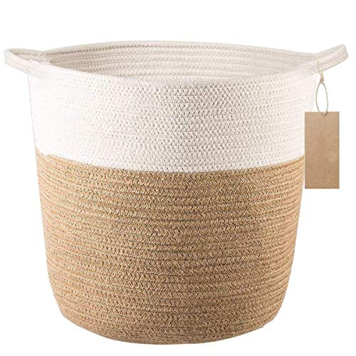 Depory Cotton Rope Storage Basket - Jute Basket Braided Planter Basket Rope Laundry Basket with Handles for Toys, Blanket and Potted Plants 34 x 26 x 29 cm -