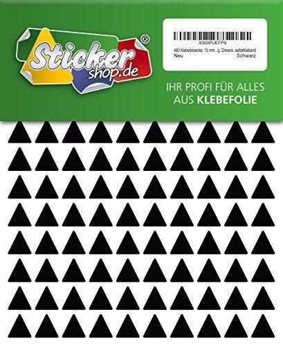 480 Aufkleber, Dreieck, Sticker, 15 mm, schwarz, PVC, Folie, Vinyl, glänzend, Klebemarkierung, selbstklebend