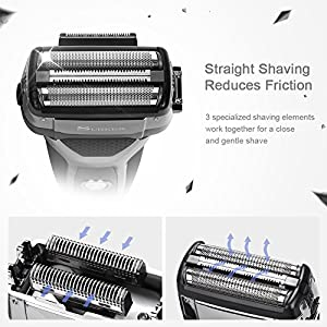 SURKER Electric Shaver Foil Shaver Men's Razor Wet and Dry Rechargeable Waterproof with Sidebums Trimmer USB Charging LED Display