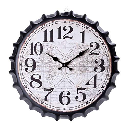 Masterein 34cm Bier Soda Kronkorken Wanduhr europäischen Stil Metall Restaurant Bar Startseite Café Dekoration Uhr -