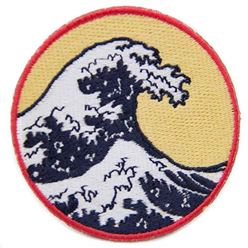 Great Wave Eisen auf Patch Zirkular 7cm bestickt Artwork der