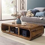 WOHNLING Couchtisch Massiv-Holz Sheesham 120 cm breit Wohnzimmer-Tisch Design dunkel-braun Landhaus-Stil Beistelltisch Natur-Produkt Wohnzimmermöbel Unikat modern Massivholzmöbel Echtholz rechteckig - 2