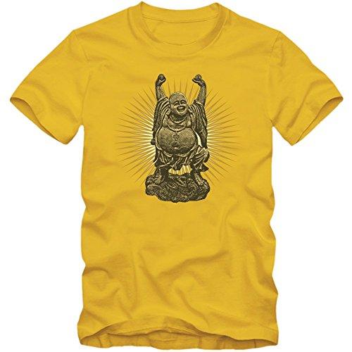 Buddha T-Shirt | Herren | Buddha | Erleuchtung | Buddhismus | Glaube | Religion © Shirt Happenz Gelb (Gold L190)