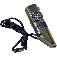 SODIAL(R) 7 en 1 Herramienta de Emergencia Estilo Militar Silbato Brujula Termometro LED