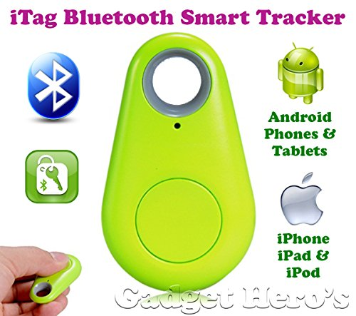 Gadget Hero's iTag Bluetooth Tracer Anti-Lost Alarm Remote Shutter Voice Recorder GPS Tracker Green. Key Finder Locator Alarm For IOS iPhone Android.