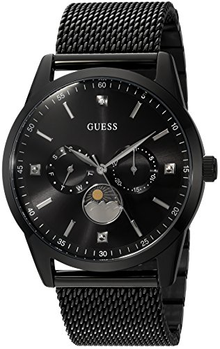 Guess Men's Stainless Steel Mesh Dress Watch, Color: Black (Model: U0869G1)