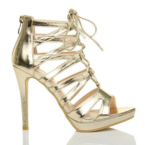 Donna tacco alto stringhe cerniera lampo aperte a punta sandali scarpe numero Oro metallizzato