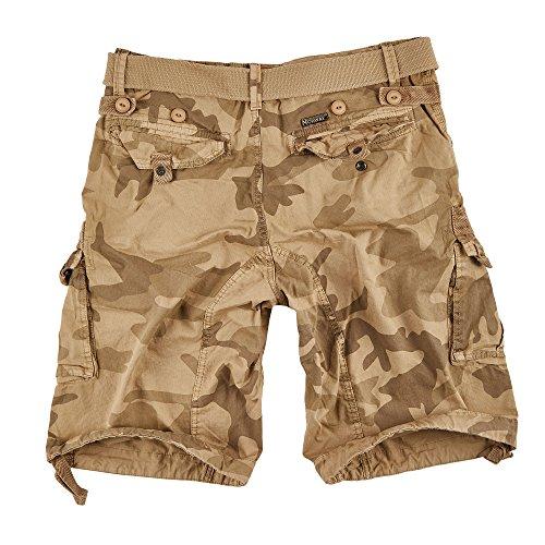 GEOGRAPHICAL NORWAY Shorts CARGO bermudas avec ceinture short Hunter im Bundle avec UD bandana - BEIGE CAMOUFLAGE, L