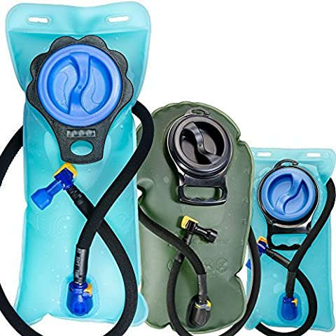 Aquatic Way Hydration Bladder Water Reservoir for Bicycling Hiking Camping Backpack. Non Toxic BPA Free, Easy Clean Large Opening, Quick Release Insulated Tube w/ Shutoff Valve (Blue 2L 2 Liter 70