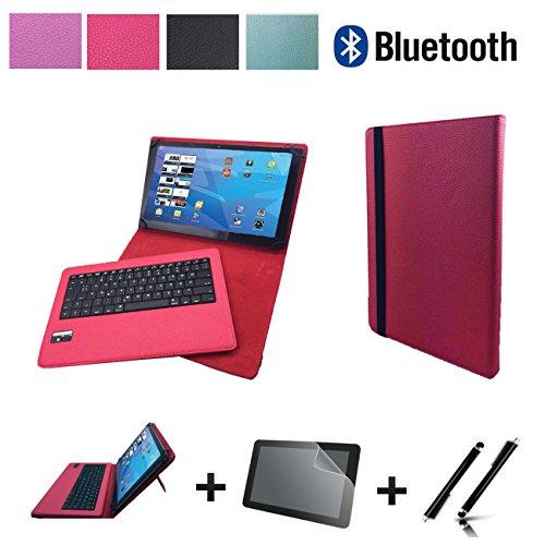 3in1 Starter Set für MEDION LIFETAB X10607 MD 60658 Bluetooth Tastatur Tasche Hülle + Schutzfolie + Touch Pen - Bluetooth Pink 10.1 Zoll 3in1