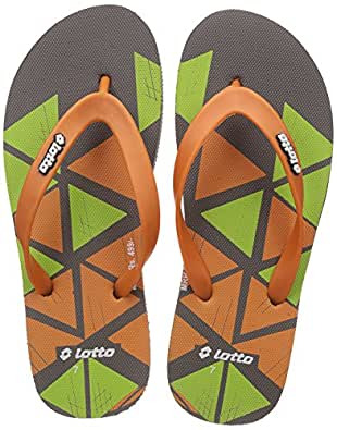Lotto Men's Dark Grey/Orange/Lime Hawaii House Slippers - 7 UK/India (41 EU)
