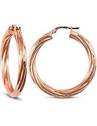 Jewelco London Ladies 9ct Rose Gold Twisted 4mm Hoop Earrings 32mm