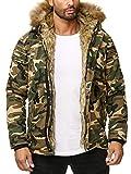 Husaria Designer Jacke Winterjacke mit Kapuze und Stylischem Fell Winter Camouflage Parka 2746 (M, Camouflage Beige)