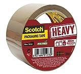 Scotch Nastro da Imballo 3M Packaging Tape Heavy/Nastro Adesivo Ultra Resistente, Confezione da 1 Rotolo, Avana, 50mm x 50m