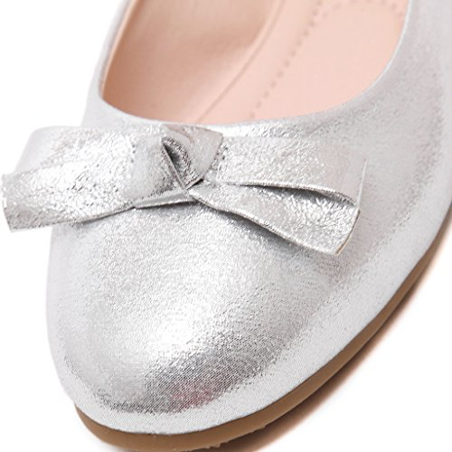 Fortuning's JDS Soft-soled Doux bowknot Princesse / à tête ronde Casual Egg Roll Women Shoes Argent