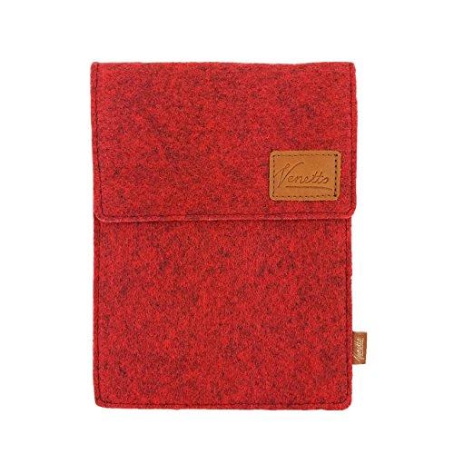 Venetto Tasche für eBook-Reader Hülle aus Filz Sleeve Schutzhülle für Kindle Kobo Tolino Sony Trekstor Rot meliert