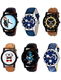 NIKOLA New Traditional Mahadev Beard Style Black Blue And Brown Color 6 Watch Combo (B22-B56-B14-B53-B23-B57)...