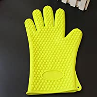 IDEA HIGH 1696 mitones para horno de microondas, guantes de cocción a alta temperatura para cocción antiescaras, aislamiento térmico, antideslizante, guantes de silicona: verde