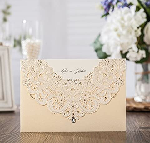Wishmade 1x Gold Laser Cut Flora & Lace Wedding Invitations Kit With Rhinestone Matched With RSVP & Thank You Card
