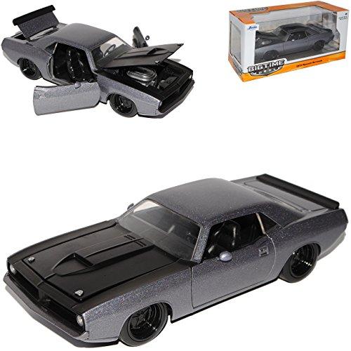 Barracuda-auto-modell (Plymouth Barracuda Coupe Grau 1973 1/24 Jada Modell Auto mit individiuellem Wunschkennzeichen)