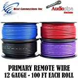 2 Spools Audiopipe 100 Feet 12 GA Gauge Primary Remote Wire Auto Power Cable