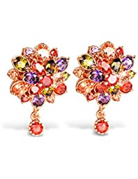 Carina Jewelry Swiss Zircon AAA Double Flower 18K Rose Gold Plated Studs Earrings For Women And Girls