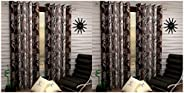 Fashion String 2 Pieces Window Curtain Set, 5 feet Long,Brown & 2 Pieces Door Curtain Set, 7 feet Long,Bro