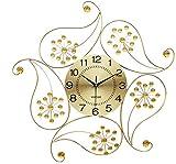 TYZXR Orologio da Parete al Quarzo Orologio da Parete Moderno in Oro con Diamanti in Metallo Design Floreale Silenzioso 3D Wall Art (Colore: Oro)