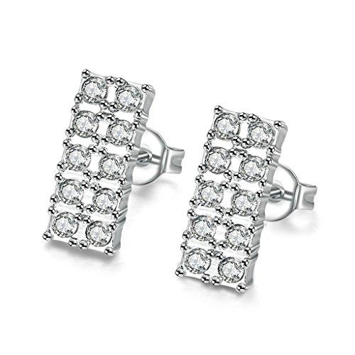 BeyDoDo Schmuck 18K Vergoldet Ohrringe Damen Ohrstecker mit Zirkonia Rechteck Kristall Ohrringe Silber