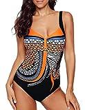 Monokini Costumi Interi Donna, Swimming Pin Up Costume SGAMBATO Contenitivi One Piece Costumi da Bagno Push Up Trikini Imbottito Bohemian Piscina (Arancione, M)
