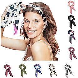 Pony Puffin Haarband - Braid Bow Verschiedene Farben Kopfband 120 x 7 cm Stirnband Seidenmatte Optik Bandana Für Flechtfrisuren ... (floral schwarz/rosa)
